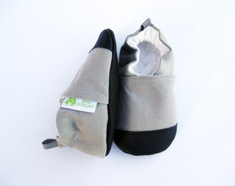 Organic Vegan Heavy Canvas Gray with Natural / non-slip soft sole baby shoes / made to order / babies toddlers preschool