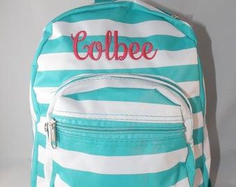 Monogrammed Backpack, Striped backpack, toddler backpack, monogrammed backpack, personalized backpack, backpacks, girl back pack,daycare bag