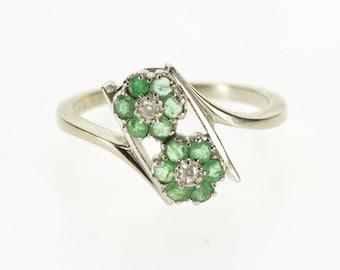 10k Emerald Diamond Floral Flower Cluster Freeform Ring Gold