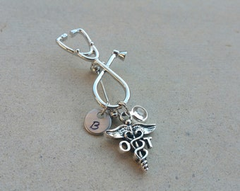 OT Occupational Therapist Therapy Handstamped Personalized Crystal Birthstone Initial Graduation Pin