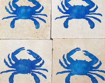 Blue Crab Stone Coaster (set of 4)