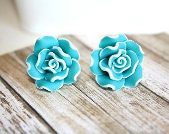 Sea Blue Flower Earrings Post Earrings