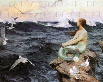 MERMAID Contemplates The Vast Sea! Vintage Mermaid Illustration. Digital Mermaid Download. Digital Printable Mermaid Image.