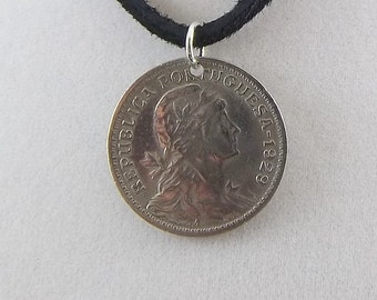 1929 Portugal Coin Necklace, 50 Centavos, Coin Pendant, Leather Cord, Mens Necklace, Womens Necklace, Vintage