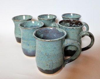 Blue Stoneware Mugs