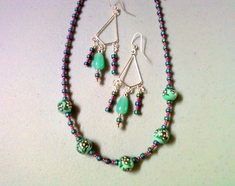 Teal and Violet Necklace and Earrings (0246)