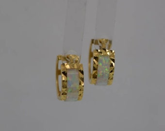 14K Yellow Gold Small Opal Hoop Earrings