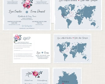 Bilingual Destination Wedding Invitation World map floral dusty blue pink German English language Love without borders DEPOSIT Payment
