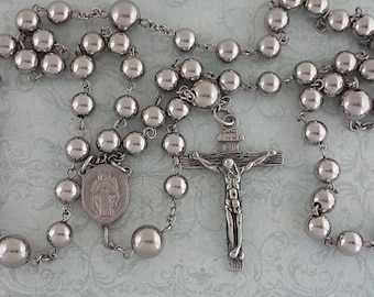 Stainless Steel Rosary, Large Rosary, Five Decade, Miraculous Medal, Crucifix, Strong, Stainless Steel, Traditional Rosary