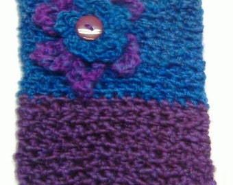 Tablet Cover Kindle Case Crocheted Tote Handmade Womans Small Electronics Samsung iPad Generic Reader Case Blue Purple Cozi Birthday Gift