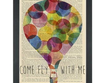 Rainbow Hot Air Balloon Come Fly With Me Frank Sinatra Dictionary Art Print