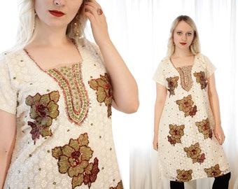 Vintage Indian tunic kurta dress white ivory embroidered sequin detail Low back BoHo hippie