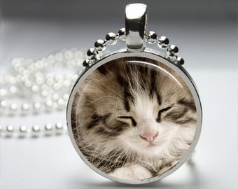 Kitty Cat Kitten Round Pendant Necklace with Silver Ball or Snake Chain Necklace or Key Ring