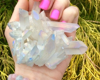 Iridescent White Angel Aura Quartz Cluster ~ Crystal Goddess Private Collection ~ Stunning Points - 5.6 oz ~ Free Shipping + Gift Wrap