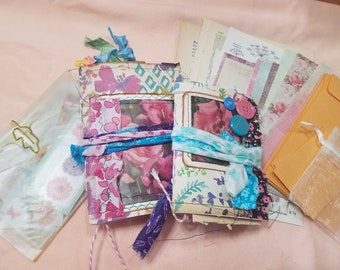 """Mini Junk Journal Bundle , Includes both A-6 and passport sizes, """"Journey"""""""