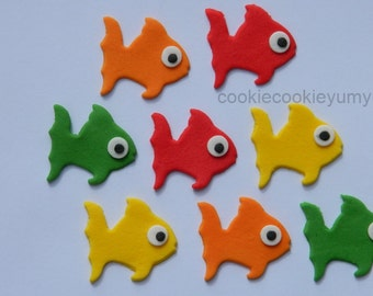 12 edible TROPICAL FISH OCEAN cupcake cake topper decorations anniversary birthday 16th 18th 21st baby shower christening school sea animals