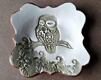 Ceramic Owl small Ring Dish Ring Holder Ring Bowl edged in gold