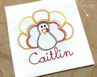 Turkey Applique Shirt / Personalized Thanksgiving / Turkey Embroidery / Floss Stitch Turkey / Personalized Turkey / Toddler Thanksgiving