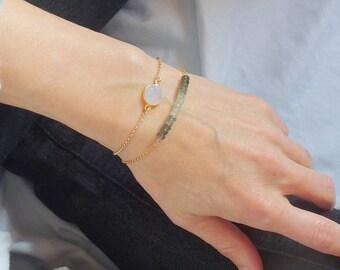 Aquamarine bracelet Gemstone bracelet March birthday Silver aquamarine Personalized gift Aquamarine jewelry Moss Aquamarine March Birthstone