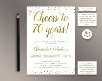 Editable 75th birthday party invitation template cheers to 75 editable 70th birthday party invitation template cheers to 70 years 70th anniversary invitation gold filmwisefo