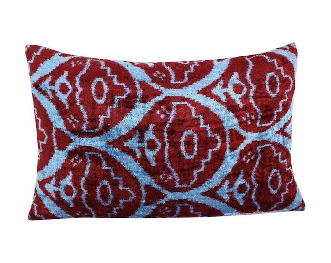 Silk Velvet Ikat Pillow Cover VP110, Bohemian pillow, Velvet Ikat Pillow, Velvet Pillow, Velvet Pillow Cover, Ikat Pillows, Throw Pillows