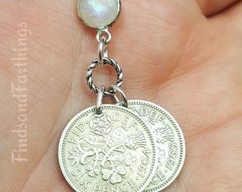 Bridal Sixpence necklace. Wedding COIN NECKLACE. lucky wedding six pence. Tudor Rose. Shamrock. Scottish Thistle. Welsh Leek. Coin jewelry