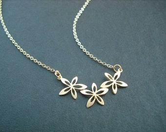 14k Gold Filled Chain - triple flower pendant necklace
