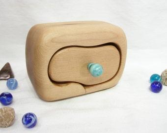 Oregon Coast Myrtle Drawer, jade green lampwork glass, wedding rings box, wooden jewelry box, earring box, anniversary, handcrafted wood box