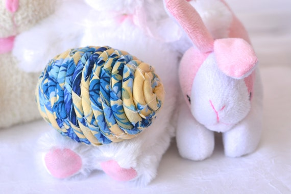 Spring Egg Home Decor, Handmade Delft Blue Easter Egg, Spring Decoration, Hand Coiled Fiber Easter Egg, Spring Bowl Filler