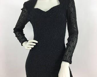 90s black glitter mini/1990s evening dress