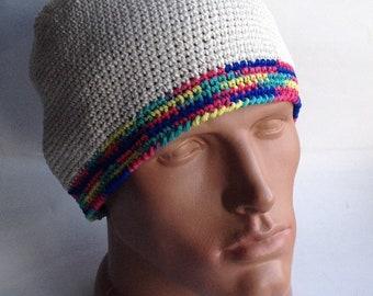 Hippy style beanie chapeau bonnet grosse bonnet coloré d'été bonnet tricot chapeaux coton bonnet Mens yoga chapeau Crochet kufi court le bonnet au Crochet