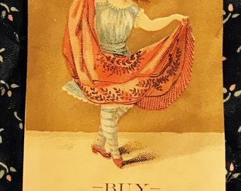 Victorian Trade Card 1800s, Little Girl Dancing in Pink Dress, Napheys Philadelphia Leaf Lard, Wonderful Antique Paper Collectible