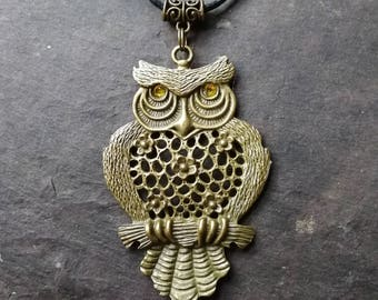 Bronze Owl Blodeuwedd pendant, golden eyes, on a cord, totem, witchy, pagan, myth