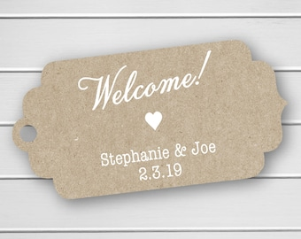 Welcome! Wedding Tags, Destination Wedding, White Ink on Kraft Wedding Favor Hang Tags  (FT-293-KR-WT)