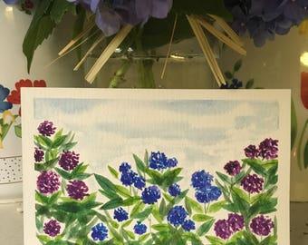 Summer Hydrangeas // Hand Painted // Watercolor