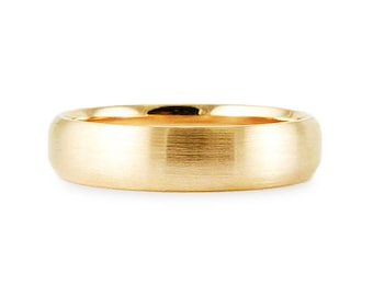 5mm Solid 14k Yellow Gold Band // Plain Brush Comfort Fit Wedding Band // Simple Men's Women's Ring // All Sizes // Dome Dome Satin Finish