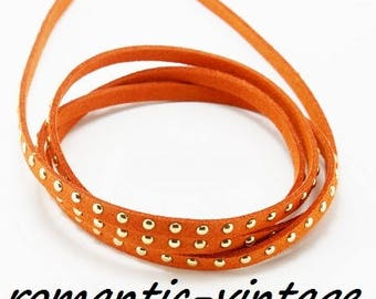 98 cm (approx.) suede riveted camel color 5mm orange
