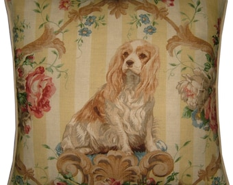 Lee Jofa Putting On the Dog Cavalier King Charles Spaniel Linen Tapestry Cushion Pillow Cover Sham