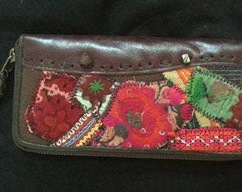 Tribal Textile and Leather Purse with strong zips and compartments