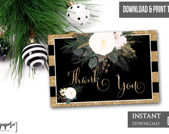 INSTANT DOWNLOAD - Christmas Plaid Pine Thank You Note - Holly Green Holiday Season Winter Thank You Card Printable Thank You 0444 0445 0446