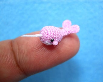 Micro Mini Pink Narwhal - Miniature Crochet Whale Stuffed Animal - Made to Order