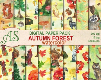 Digital Watercolor Autumn Forest Seamless Paper Pack, 16 printable Digital Scrapbooking papers, Autumn Decoupage, Instant Download, set 346