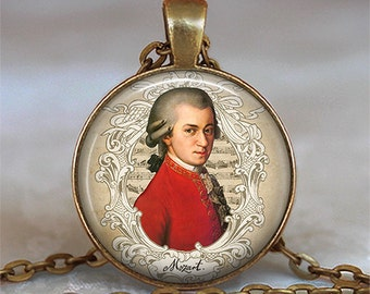 Mozart necklace, Mozart pendant, music lover gift, music teacher gift, classical music, symphony lover gift music student key chain key ring