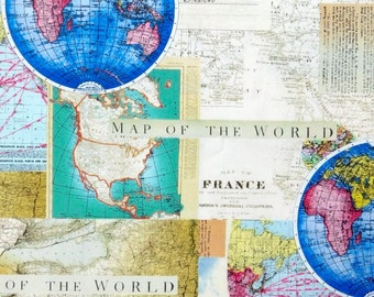 Map fabric, world map travel fabric 100% cotton for Quilting and general sewing projects.