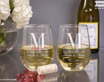 Personalized Stemless Wine Glasses, Etched Wine Glasses, Custom Wine Glasses, Bridesmaid Gift