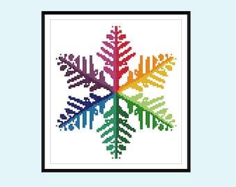 Rainbow Snowflake Original Cross Stitch PDF Pattern Instant Download