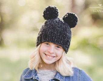Black Double Pom Hat, Pompom Hat, Knit Beanie, Pom Pom Toque, Chunky Knitted Baby Hat, Bear Ears Hat, Funky Hat, Womens Beanie, Adult Pompom