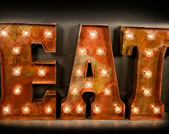 Eat Letter, Eat Sign, Cafe Sign, Lighted Metal MARQUEE SIGN Marquee Light  Marquee