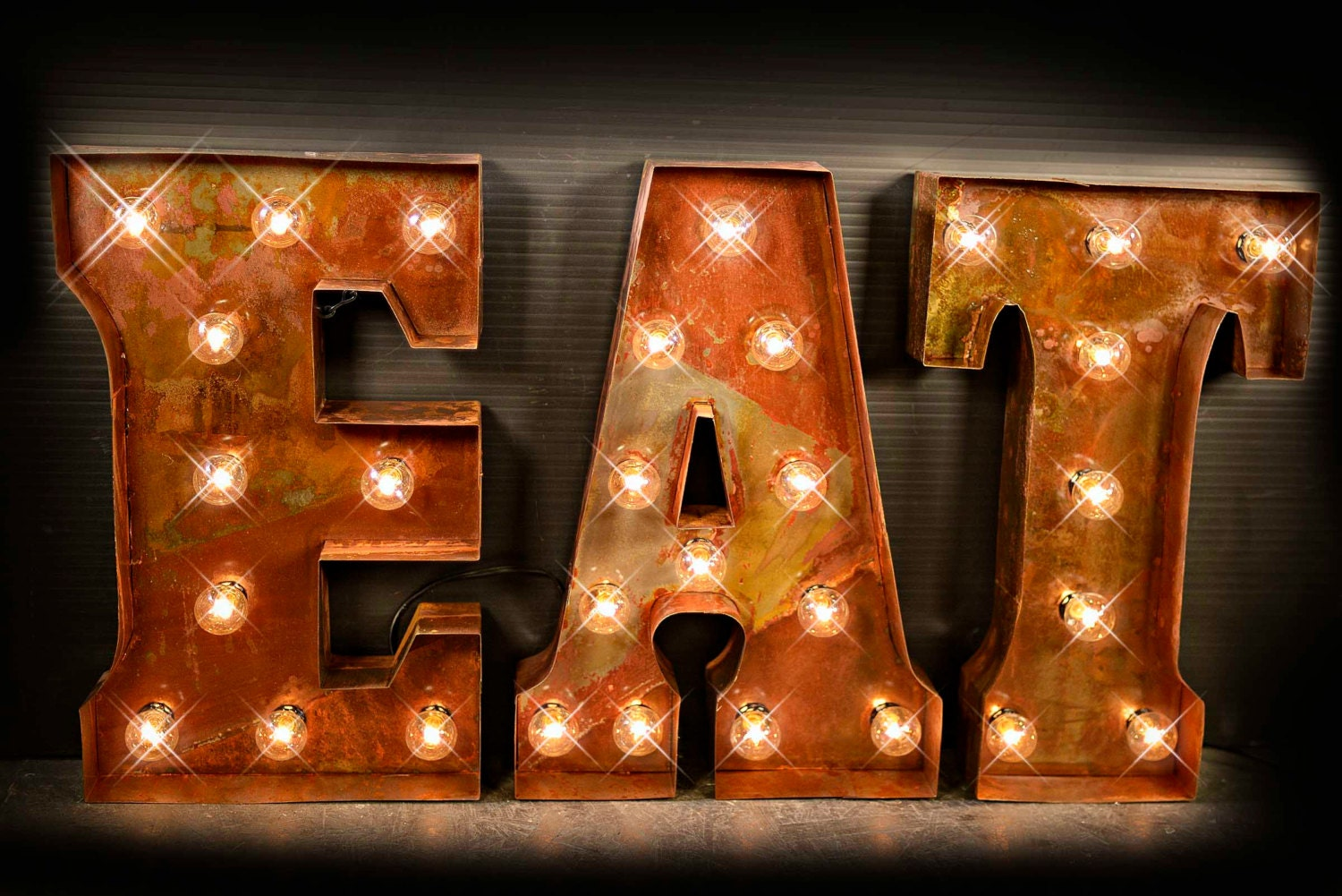 Metal Letter Signs With Lights Eat Letter Eat Sign Cafe Sign Lighted Metal Marquee Sign