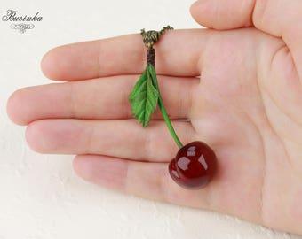 Red Cherries Necklace * cherry jewelry * romantic berry * red cherry * cherry style * cherry necklace * cherries berry *